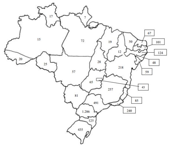 Distribuição, por estado, dos participantes do XI ENEM.