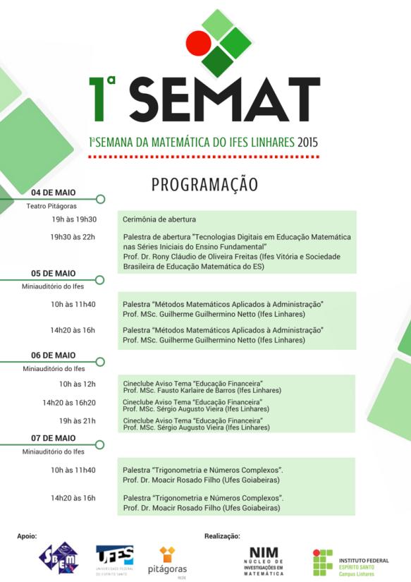 Programação 1ª SeMAT - Linhares